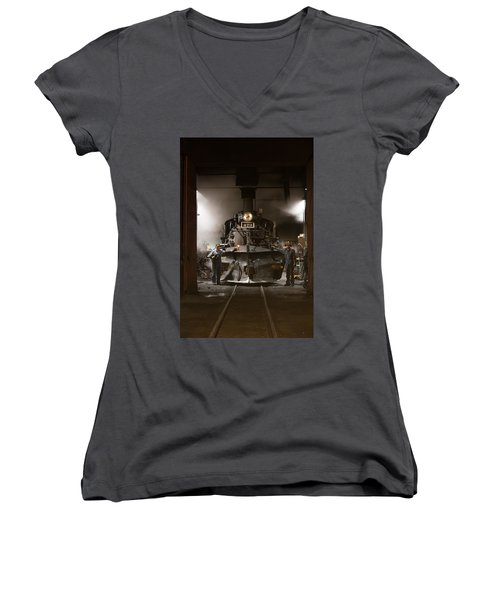 Steam Locomotive In The Roundhouse Of The Durango And Silverton Narrow Gauge Railroad In Durango Women's V-Neck T-Shirt (Junior Cut) by Carol M Highsmith