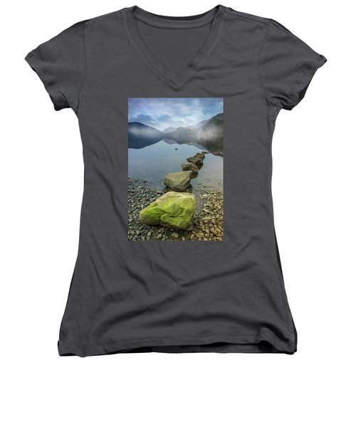 Stepping Stones Women's V-Neck T-Shirt (Junior Cut) by Ian Mitchell