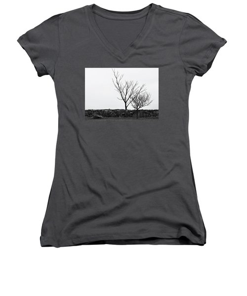 Women's V-Neck T-Shirt (Junior Cut) featuring the photograph Stone Wall With Trees In Winter by Nancy De Flon