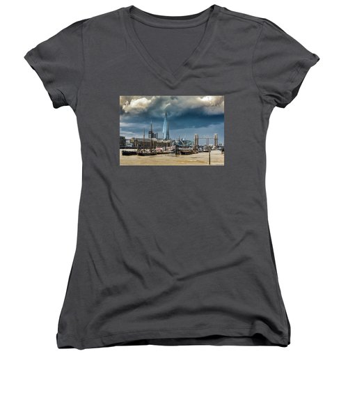 Women's V-Neck T-Shirt featuring the photograph Storm Looming Over The Shard And Tower Bridge by Gary Eason