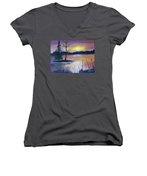 Women's V-Neck T-Shirt (Junior Cut) featuring the painting Stormy Sunset by Jack G Brauer