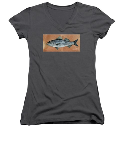 Women's V-Neck T-Shirt (Junior Cut) featuring the painting Striper by Andrew Drozdowicz
