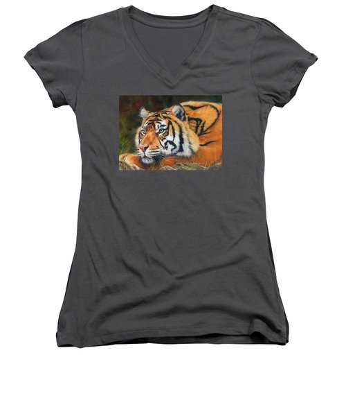 Sumatran Tiger  Women's V-Neck T-Shirt