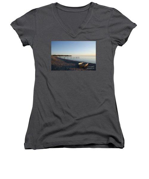 Women's V-Neck T-Shirt (Junior Cut) featuring the photograph Summer Evening by Kennerth and Birgitta Kullman