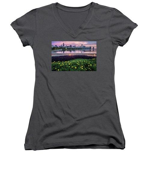 summer flowers and Chicago skyline Women's V-Neck