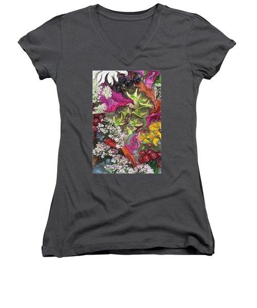 Summer Still Life Women's V-Neck T-Shirt (Junior Cut) by Vladimir Kholostykh