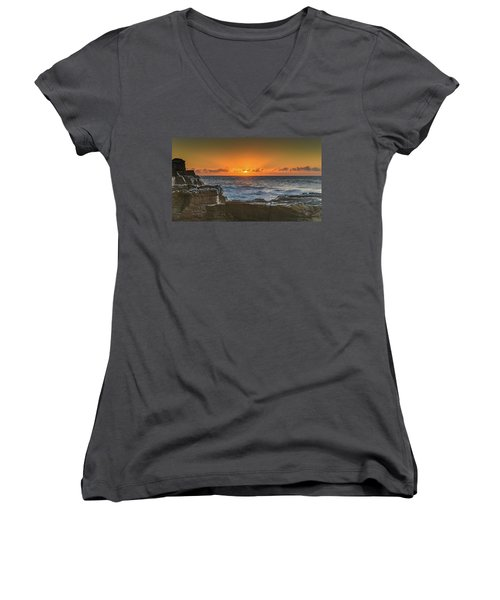 Sun Rising Over The Sea Women's V-Neck