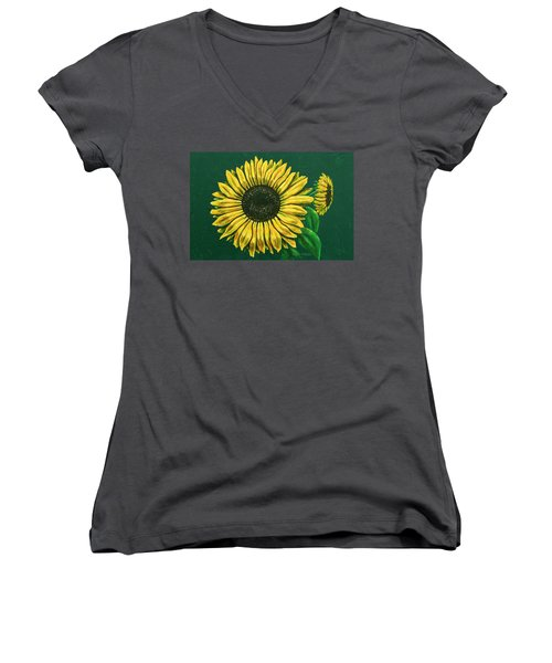 Sunflower Women's V-Neck T-Shirt (Junior Cut) by Ron Haist