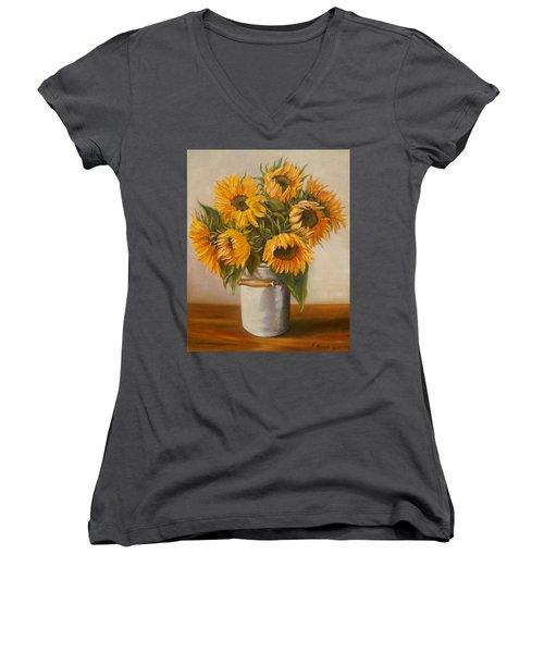 Sunflowers Women's V-Neck T-Shirt (Junior Cut)