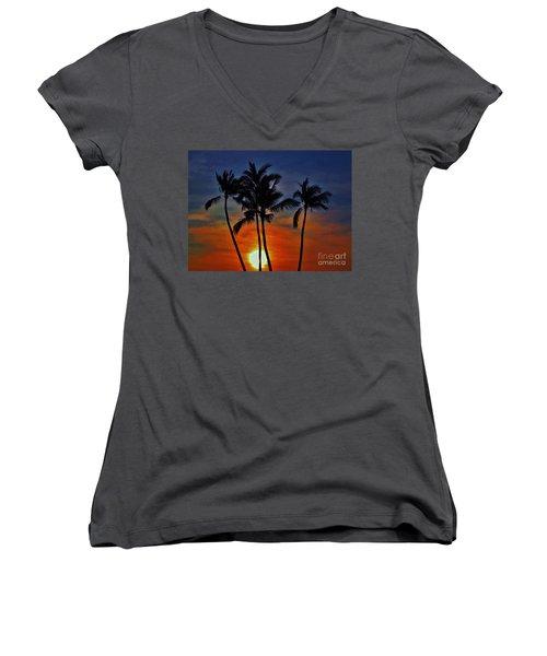 Women's V-Neck T-Shirt (Junior Cut) featuring the photograph Sunlit Palms by Craig Wood