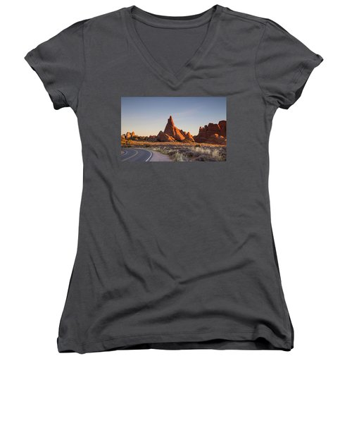 Sunrise In Arches National Park Women's V-Neck