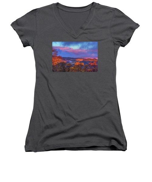 Sunrise Light Women's V-Neck T-Shirt (Junior Cut) by Marc Crumpler