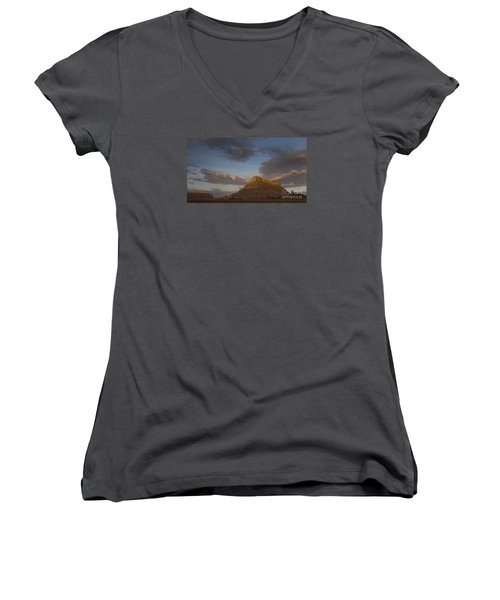 Sunrise Over Factory Butte Women's V-Neck T-Shirt (Junior Cut) by Keith Kapple
