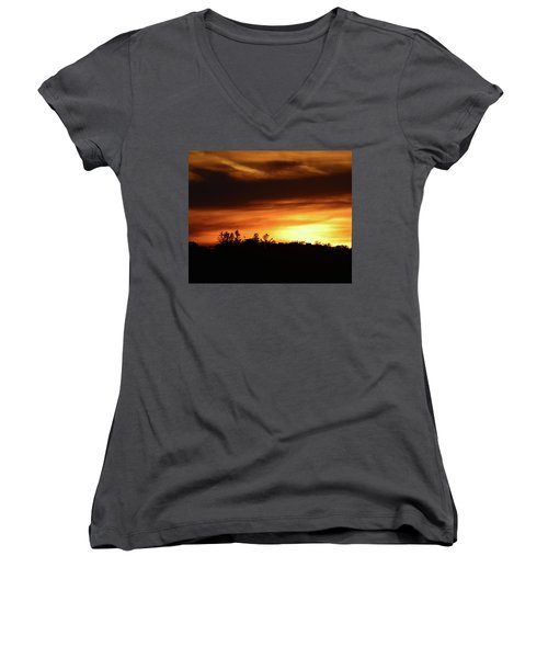 Sunset Behind The Clouds  Women's V-Neck T-Shirt (Junior Cut) by Lyle Crump