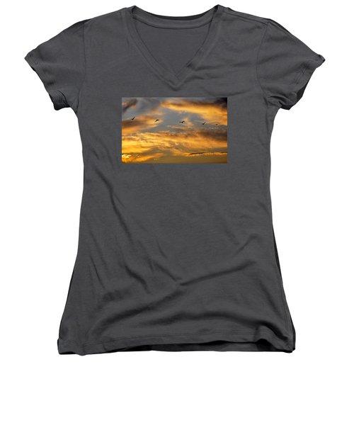 Women's V-Neck T-Shirt featuring the photograph Sunset Flight by AJ Schibig