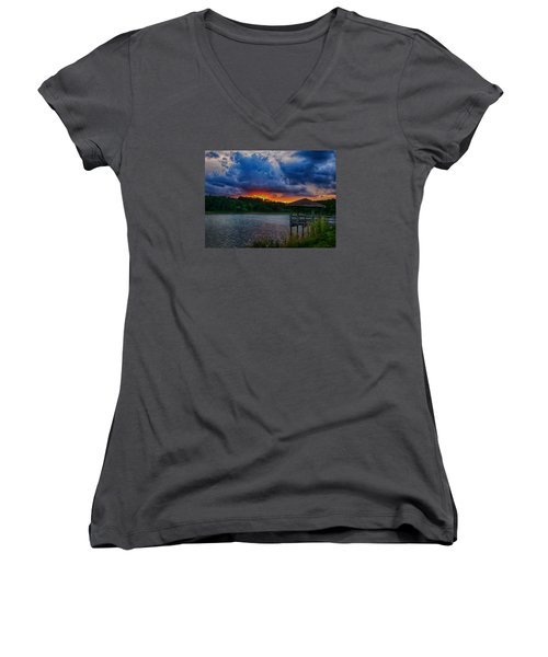 Women's V-Neck T-Shirt (Junior Cut) featuring the photograph Sunset Huntington Beach State Park by Bill Barber