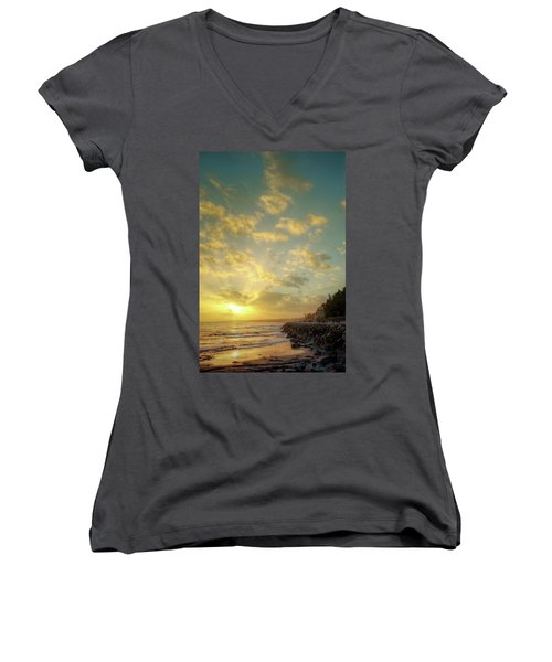 Women's V-Neck T-Shirt (Junior Cut) featuring the photograph Sunset In The Coast by Carlos Caetano