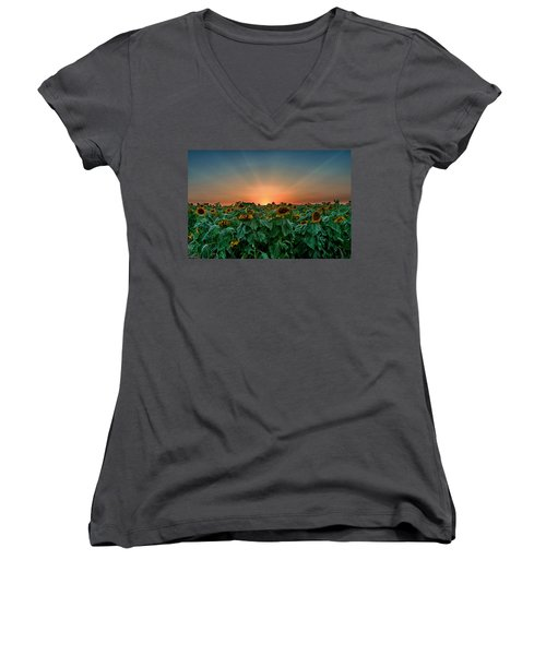 Sunset Over A Sunflowers Field Women's V-Neck (Athletic Fit)