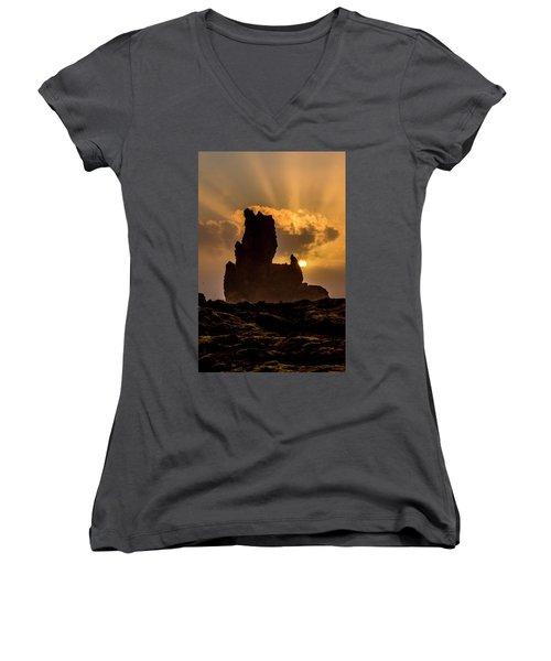 Sunset Over Cliffside Landscape Women's V-Neck T-Shirt