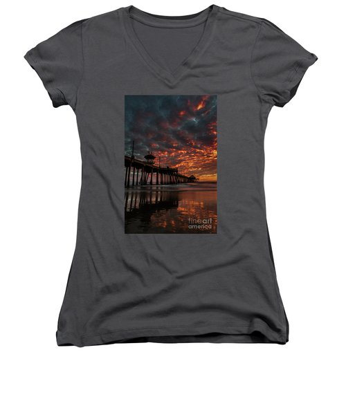 Sunset Over Huntington Beach Pier Women's V-Neck (Athletic Fit)