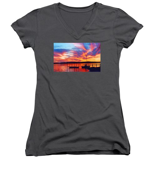 Sunset Over Lake Murray Women's V-Neck