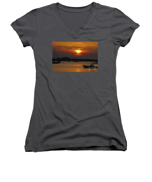 Women's V-Neck T-Shirt (Junior Cut) featuring the photograph 1- Sunset Over The Intracoastal by Joseph Keane