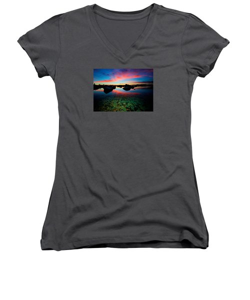 Sunset With A Whale Women's V-Neck T-Shirt