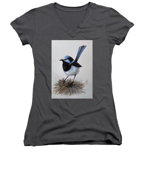 Superb Blue Wren Women's V-Neck T-Shirt
