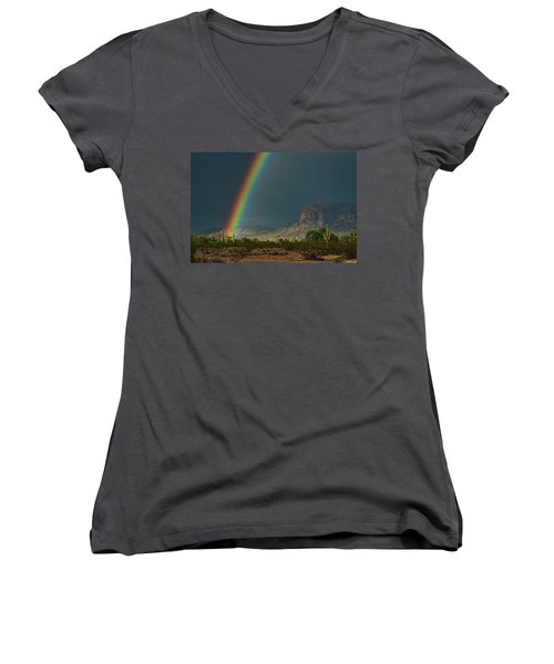 Women's V-Neck T-Shirt featuring the photograph Superstition Rainbow  by Saija Lehtonen