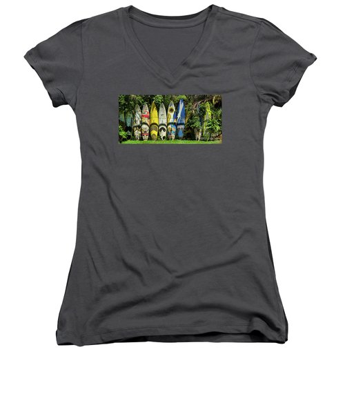 Surfboard Fence Maui Hawaii Women's V-Neck (Athletic Fit)