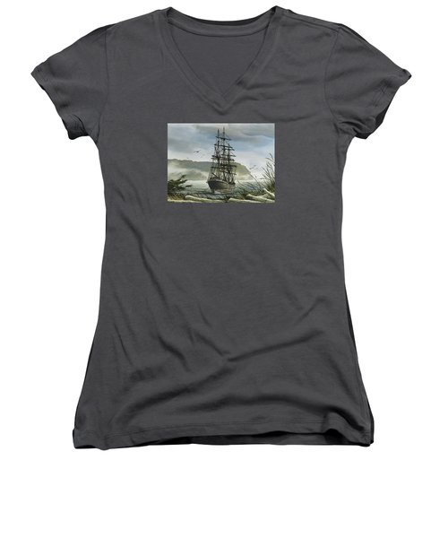 Women's V-Neck T-Shirt (Junior Cut) featuring the painting Tall Ship Cove by James Williamson