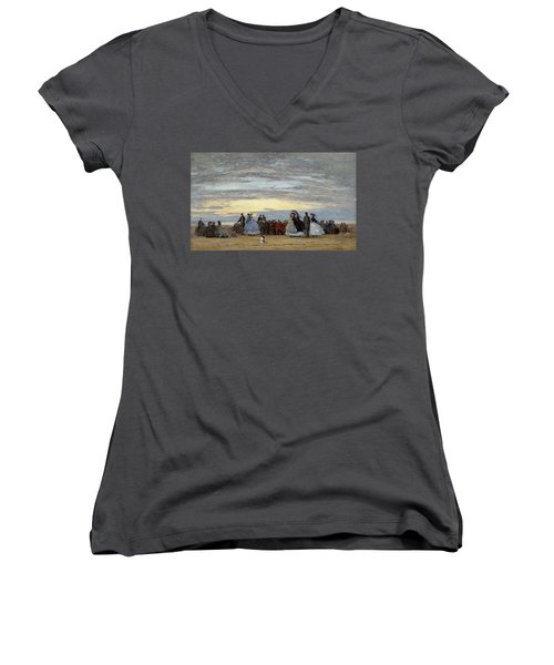The Beach At Villerville Women's V-Neck