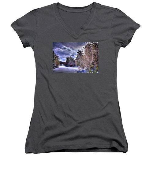 Women's V-Neck T-Shirt (Junior Cut) featuring the photograph The Beaver Brook Boathouse by David Patterson