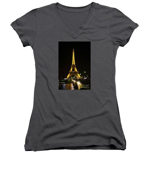 The Eiffel Tower At Night Illuminated, Paris, France. Women's V-Neck (Athletic Fit)