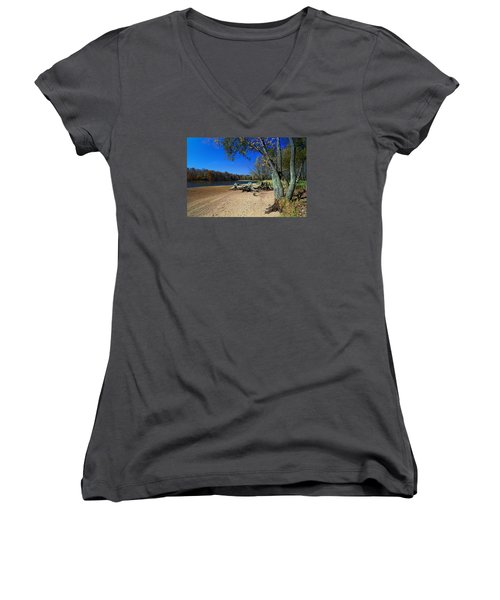 Women's V-Neck T-Shirt (Junior Cut) featuring the photograph The End Of Summer by Judy  Johnson