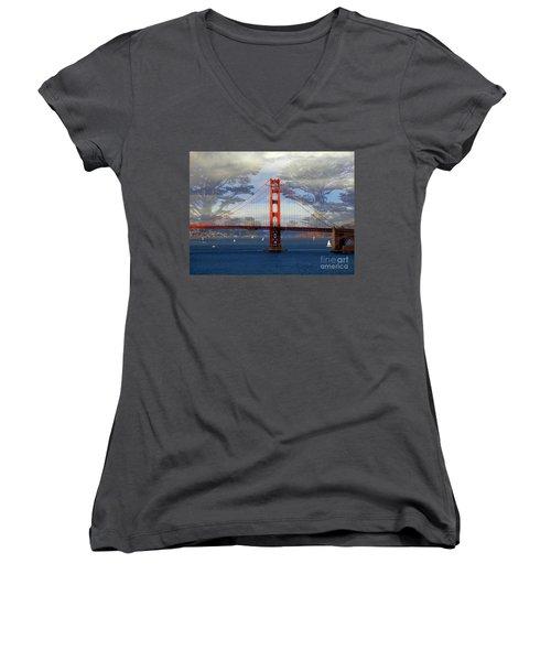 The Golden Gate Bridge  Women's V-Neck T-Shirt (Junior Cut) by Scott Cameron