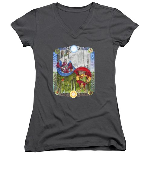 The Holly King And The Oak King Women's V-Neck T-Shirt (Junior Cut) by Melissa A Benson