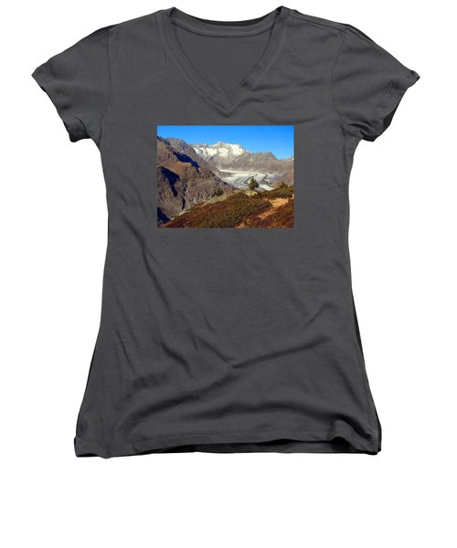 The Large Aletsch Glacier In Switzerland Women's V-Neck T-Shirt (Junior Cut) by Ernst Dittmar