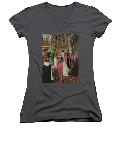 The Mass Of Saint Giles Women's V-Neck T-Shirt (Junior Cut) by Master of Saint Giles