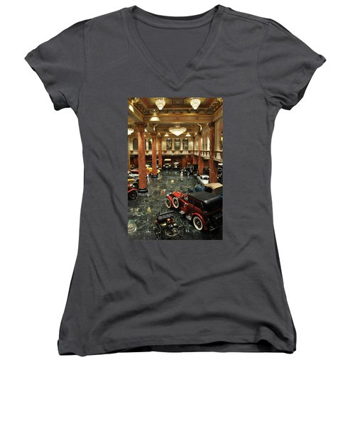 Grand Salon At The Nethercutt Women's V-Neck T-Shirt (Junior Cut) by Kyle Hanson