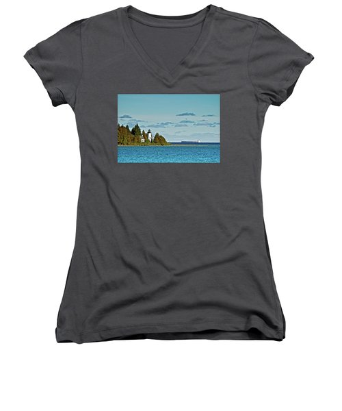 The Old Presque Isle Lighthouse Women's V-Neck (Athletic Fit)