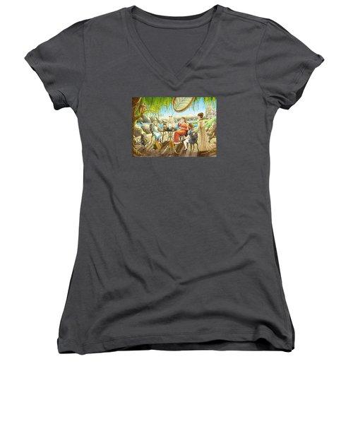 The Palace Garden Tea Party Women's V-Neck T-Shirt (Junior Cut) by Reynold Jay