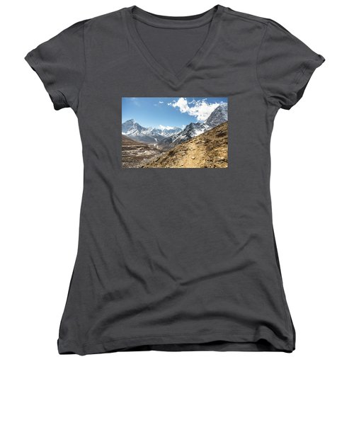 The Path To Cho La Pass In Nepal Women's V-Neck