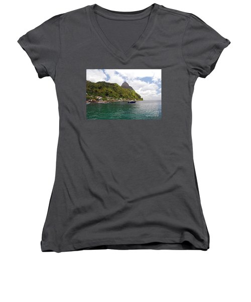 Women's V-Neck T-Shirt featuring the photograph The Pilons by Gary Wonning