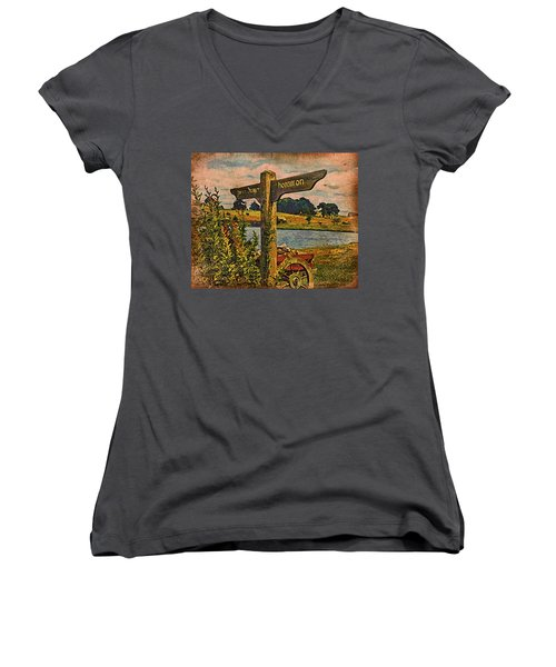 Women's V-Neck T-Shirt (Junior Cut) featuring the digital art The Road To Hobbiton by Kathy Kelly