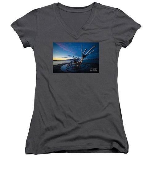The Sun Voyager  Women's V-Neck T-Shirt (Junior Cut) by Mariusz Czajkowski