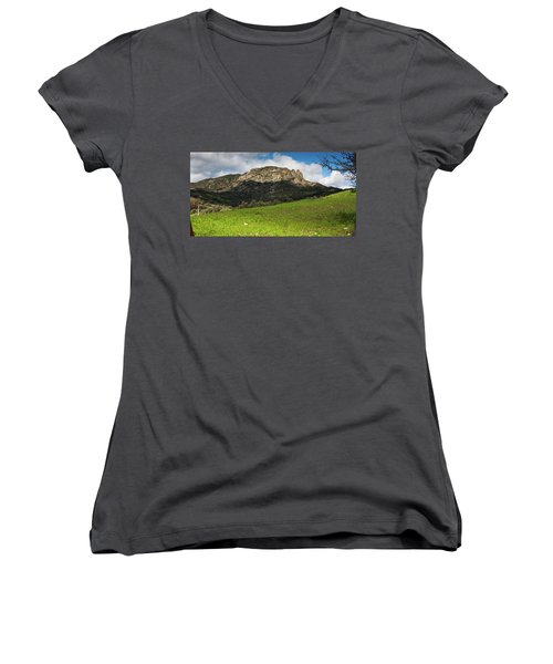 Women's V-Neck T-Shirt (Junior Cut) featuring the photograph The Three Finger Mountain by Bruno Spagnolo