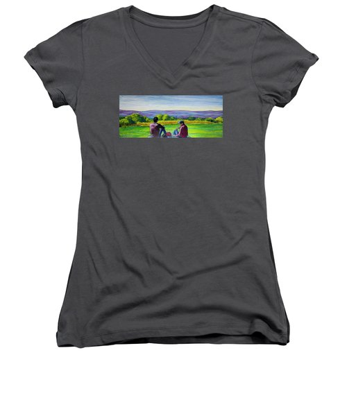 Women's V-Neck T-Shirt (Junior Cut) featuring the painting The View by Ron Richard Baviello