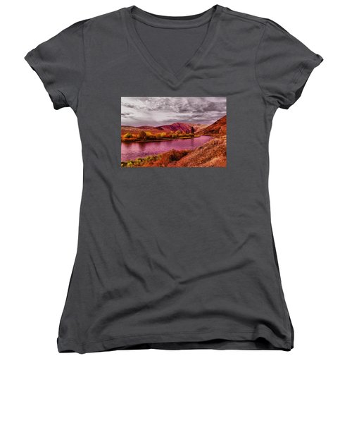 Women's V-Neck T-Shirt (Junior Cut) featuring the photograph The Yakima River by Jeff Swan