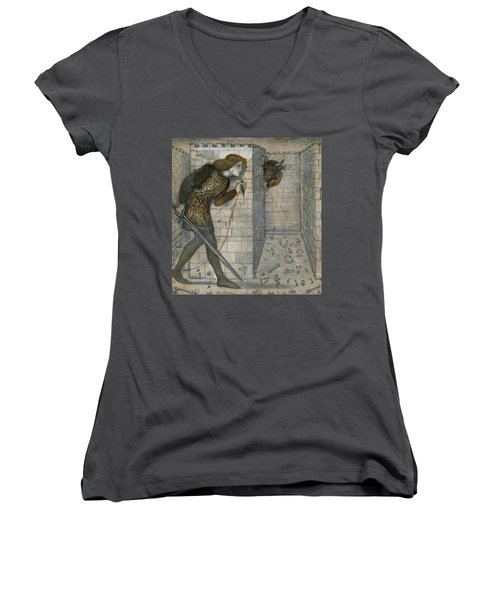 Theseus And The Minotaur In The Labyrinth Women's V-Neck (Athletic Fit)
